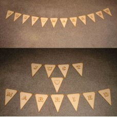 Just Married Bunting - Rustic MDF